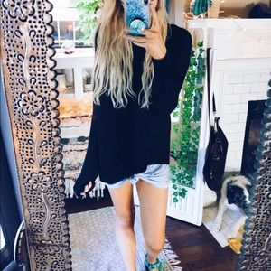 LOFT Dazed Black Woven Knit Sweater Chella 152